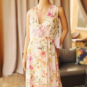 Calvin Klein Chiffon Floral Wrap Dress